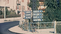 Cortina d'Ampezzo, Italy 1967: street signs Stock Footage