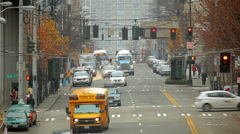 Stock Video Footage of Static view zoomed looking past James Street from 5th Ave. in Seattle.