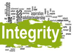 Integrity word cloud with green banner - stock illustration