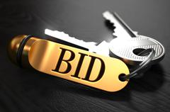 Stock Illustration of Keys with Word Bid on Golden Label
