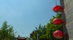 Red Chinese Round Traditional Lanterns Stock Footage