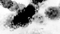 Graphic black and white animation with triangles and spots effects in background Stock Footage