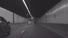 B and W POV tunnel driving 4K Stock Footage