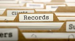 Records Concept with Word on Folder Stock Illustration