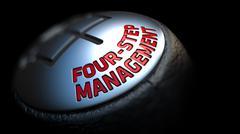 Four-Step Management on Car's Shift Knob - stock illustration