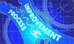 Improvement Process Concept. Blueprint of Gears Stock Illustration