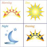 Morning day evening night icon set - stock illustration