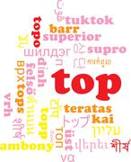 Top multilanguage wordcloud background concept Stock Illustration
