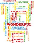 Wonderful multilanguage wordcloud background concept Stock Illustration