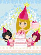 kids celebrating a birthday party - stock illustration