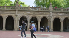 Bethesda Terrace in Central Park, tourists walking by, summer tourism, 4K, NYC - stock footage