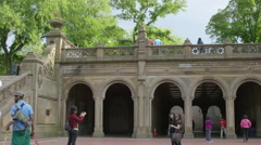 Bethesda Terrace underpass arches tourists people walking slow motion 4K NYC - stock footage