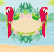 Stock Illustration of Colourful parrot bird sitting on the perch - abstract tropical frame