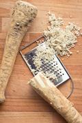 Grated horseradish root Stock Photos