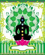 Yoga lotus pose. Padmasana with chakra points. Piirros