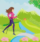 Stock Illustration of Nordic walking - active woman exercising outdoor