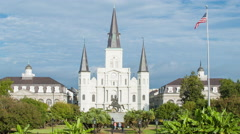 St Louis Cathedral in New Orleans French Quarter Stock Footage