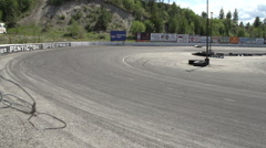 Motor sports, sprint car x2 in turn, wide Stock Footage