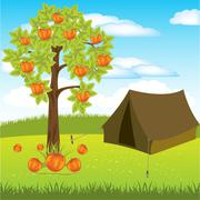 Stock Illustration of Tent under aple tree