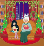 grandmother and granddaughter - Christmas at home - stock illustration