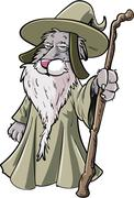 Cartoon dog wizard with staff Stock Illustration