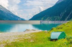 Azure lake and peaks of the Alps, Austria Stock Photos