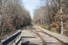 Intersecting railroad tracks Stock Photos