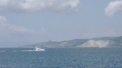 Boats On The Background Of The Island Stock Footage