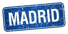 Madrid blue stamp isolated on white background - stock illustration