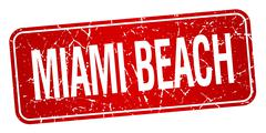 Miami Beach red stamp isolated on white background - stock illustration