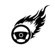Black and white burning automobile steering - stock illustration