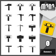 Mono Icons - Hammers 1. Flat monochromatic icons - stock illustration