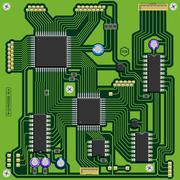 Green printed circuit board (PCB) with electronic components Stock Illustration