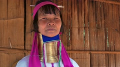 Long Neck Woman, Northern Thailand Stock Footage