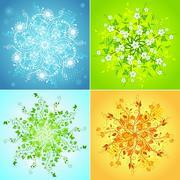 Four seasonal snowflakes. Stock Illustration