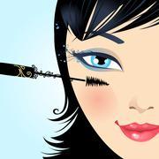 Woman paints the eyelashes makeup mascara. - stock illustration