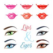 Vector set of lips and eyes. - stock illustration
