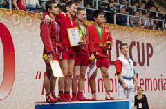 Stock Photo of Umbaev N., Kanzhanov B., Klyukin A., Yamamoto K. on podium