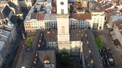 Lviv Town Hall (Aerial) Stock Footage