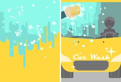 Vector car wash banner for advert. Yellow automobile with water and hand spon Piirros