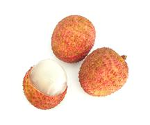 Lychee (Litchi chinensis) Against On White Background - stock photo