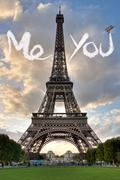 Love in Paris Eiffel Tower Stock Illustration
