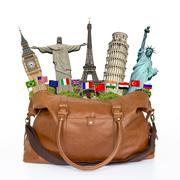 Illustration of a travel bag full of famous monument Stock Illustration