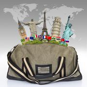 Stock Illustration of illustration of a travel bag full of famous monument