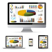 Modern digital tech device collection Stock Illustration