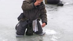 Sportsman catches pike perch on ice fishing Stock Footage