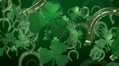 Clover with horseshoe in green Stock Footage