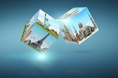 Illustration of dices with famous monument Stock Illustration