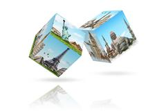 Stock Illustration of illustration of dices with famous monument