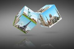 illustration of dices with famous monument - stock illustration